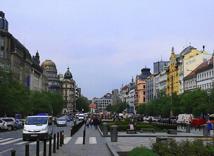 Вацлавская площадь. Вид на Мустек
