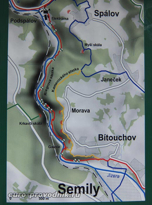 Карта маршрута Риегрова стежка