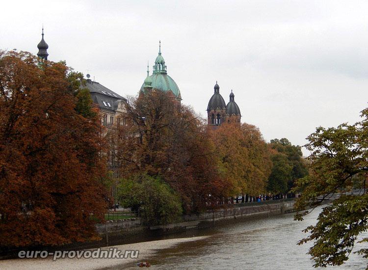 Мюнхен с моста реки Изар