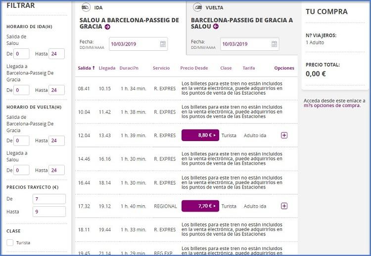Расписание поездов из Салоу в Барселону
