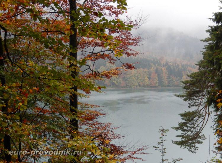 Озеро Альпзее в дождь