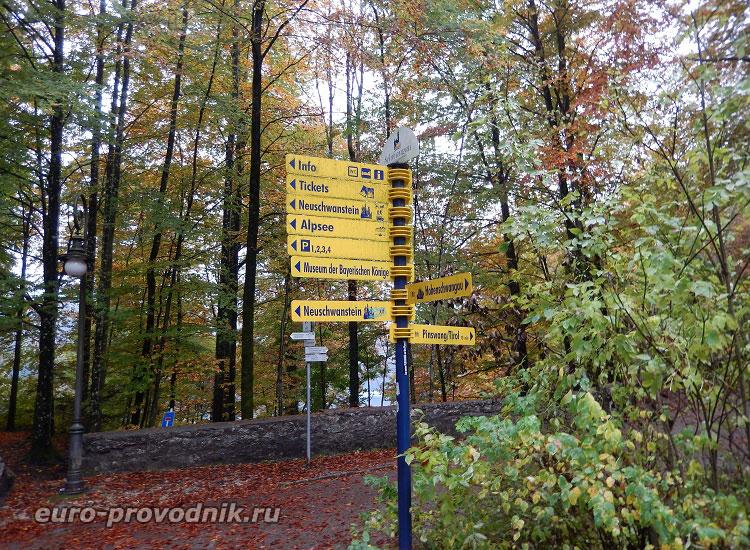 Указатели направлений на пути к озеру Альпзее