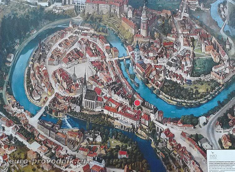 Чески Крумлов. Карта исторического центра
