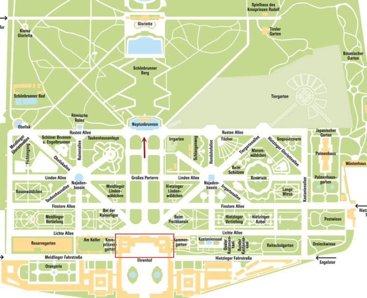 Карта дворцово-паркового комплекса Шенбрунн