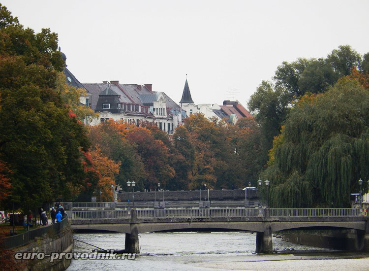 Река Изар и мосты Мюнхена