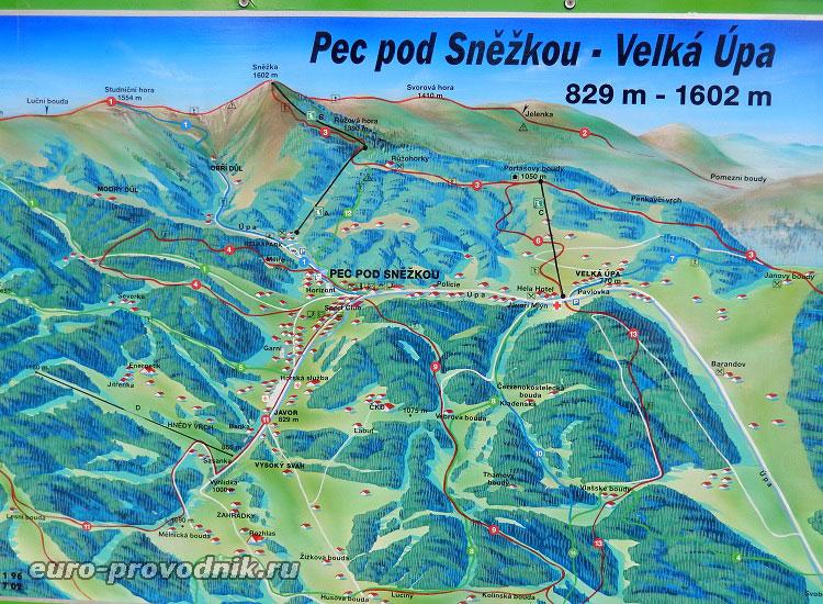 Карта гор Крконоше