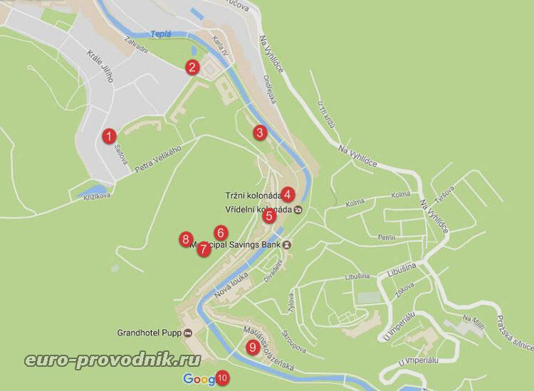 Карта достопримечательностей Карловых Вар