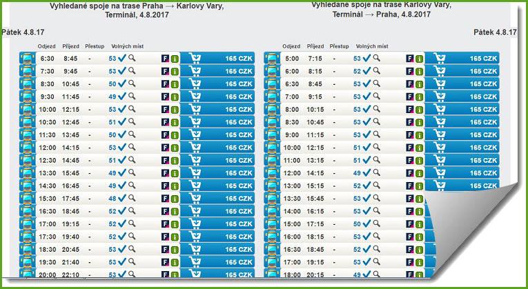 Расписание автобусов из Праги в Карловы Вары и обратно