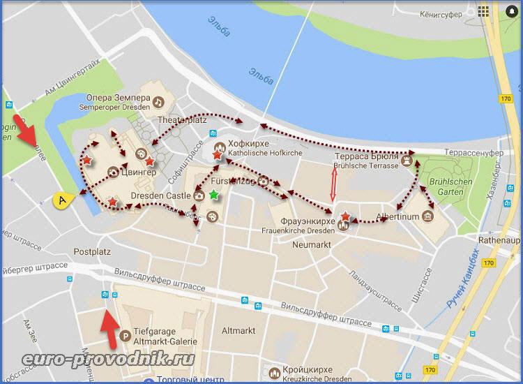 Карта центра Дрездена