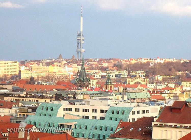 Вид на Жижков из центра Праги