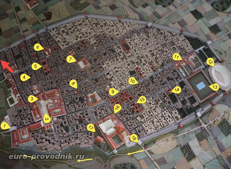 Карта Помпеев с достопримечательностями