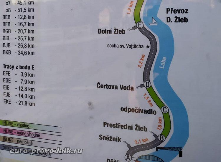 Карта пунктов на берегу Эльбы